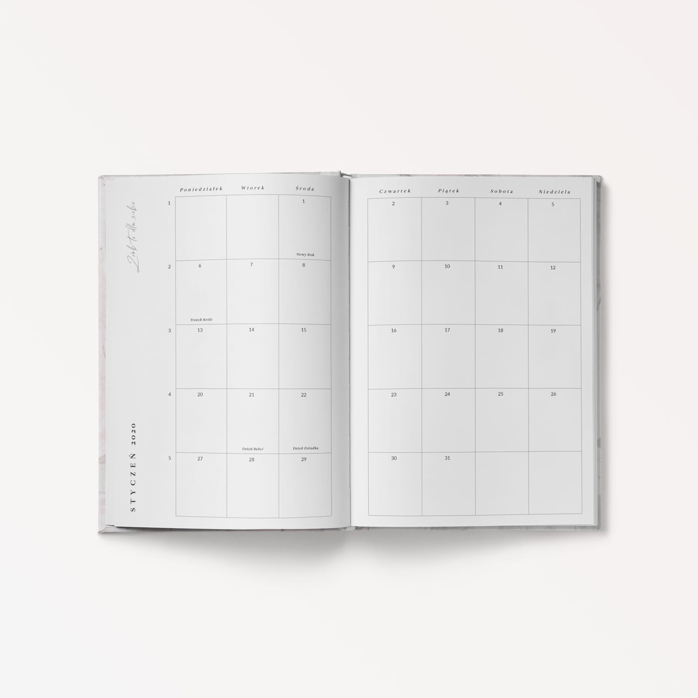 Planner dzienny 2020 Candy Marble