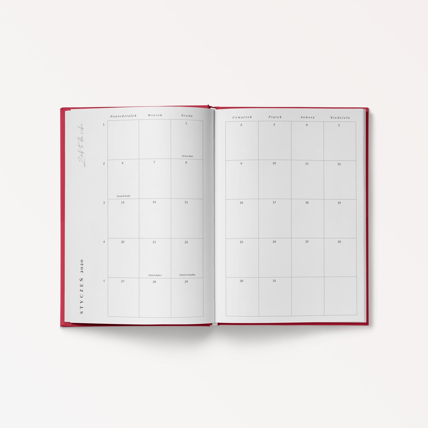 momonde planner dzienny 2020 chili red